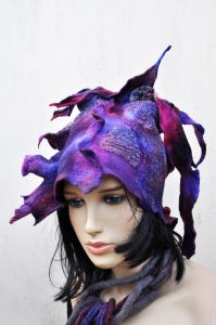 Felted hat, silk and merino wool